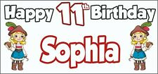 Girl Pirate 11th Birthday Banner x 2 - Party Decorations - Personalised ANY NAME