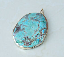 Ocean Jasper Faceted Pendant Quartz Druzy Pendant - Gold Edge - Blue Green Mint