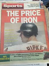 Philadelphia Daily News Aug 30, 1995 Cal Ripken The Price Of Iron --Entire Paper