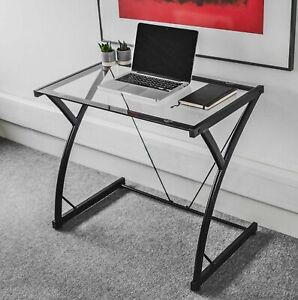 Glass Top Computer Desk Home Office Writing Study Table PC Laptop Workstation UK