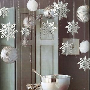 Snowflake Banner Home Ornament Party Snowflakes Tree Baubles Christmas