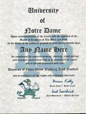 NOTRE DAME FIGHTING IRISH FOOTBALL~ CERTIFICATE ~ DIPLOMA  ~ MAN CAVE