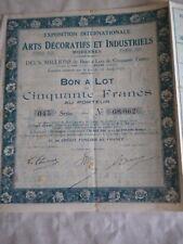 Vintage share certificate Stock Bonds Exposition universelle art decoratifs 1925