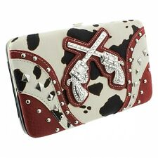 Red with Black and White Cow Print Two Gun Accented Flat Style Wallet