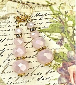 Beautiful Etched Gold with Rose Crystal Earrings. Cairns. Balance.