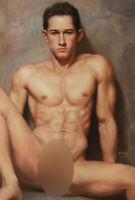 """Art prints canvas transfer from oil painting male nude sitting young men 24""""x36"""""""