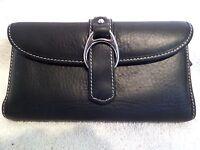 Dooney & Bourke Mega Soft Black Leather Silver Bridle Buckle Checkbook Wallet