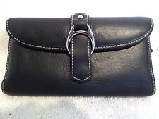 Dooney & Bourke Mega Soft Black Leather Silver Bridle Buckle Checkbook Wallet