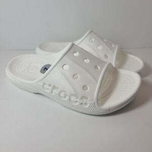 Size M5/W7 Crocs Unisex Baya Slides Sandals Slipper White 12000-100