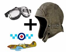 ANTIQUE DISTRESSED  LEATHER LOOK  WW2 FLYING HELMET BOMBER PILOT AVIATOR HAT