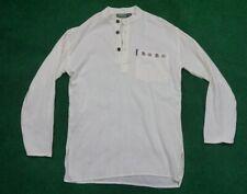 mens White Lakhays Collection  Om kurta Long Sleeve Shirt Size Medium