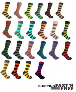 Men's Mid-calf Various Colors Multi-occasion Stripes Dress Socks