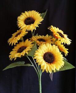 7 Head Artificial Sunflower Bush  Height 54cm - Yellow Summer Flower Arrangement
