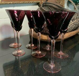 "7 Mikasa Blossom Plum 8 1/4"" Wine Glasses Optic Swirl Amethyst - Excellent"