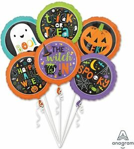 Trick or Treat Happy Halloween Balloon party Favor 5CT Foil Balloon Bouquet