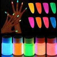 1PC Glow in the Dark Powder Super Bright Nail Polish Fluorescent Powder 12Colors