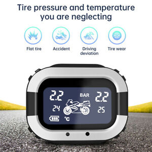 Motorcycle Wireless LCD TPMS Tire Pressure TEMP Monitor System External 2 Sensor