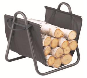 WC01 50cm H Black Fireplace Kindling Wood Rack / Cradle; w Sling