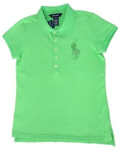NWT Girls Ralph Lauren green with big beaded polo horse shirt size L (12-14)