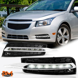For 10-14 Chevy Cruze Clear Lens LED DRL Front Bumper Fog Light/Lamp+Bezel Pair