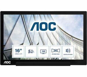 "AOC I1601FWUX LED Monitor 15.6"" Portable 1920 X 1080 Full HD 1080p IPS 220"