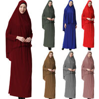 Islam Women Prayer Set Abaya Muslim Long Scarf Hijab Maxi Dress Skirt Arab Robes