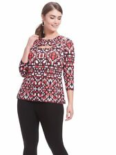 JETE Aztec Printed Cut Out Top w three-quarter silhouette & sleeve L 10-12