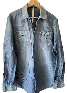 G Star Raw Light Weight Distressed Chambray Denim Relaxed Military Worker Shirt