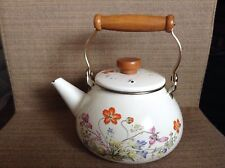 "Vintage Enamel Tea Pot Stove Top Kettle Flower Pattern Wooden Handle 9"" White"