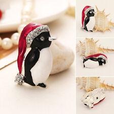 Weihnachts Strass Netter Pinguin Brosche Weihnachtsgeschenk Partei Dekor!