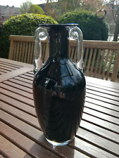 Edle Mid Century Murano Art Glas Krug Vase Amphore schwarz 25,5 cm Farbglas