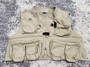 Vintage LL Bean Fly Fishing Vest Khaki Zip Men Size XL