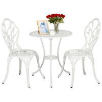 Outdoor Setting Cast Bistro Table Chair Vintage Patio 3-Piece Bistro Set White