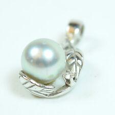 14 Karat White Gold Diamond and Pearl Jewelry Charm Pendant