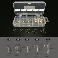 50pcs/lot Durable Treble Fishing Hooks High Carbon Steel Hook Set Silver w/ Box