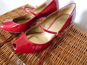 CLARKS RED PATENT LEATHER METALLIC LOOK PEEP TOE HEELS SHOES UK 6 VERY GOOD COND