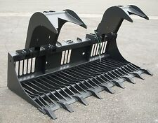 "Kubota Skid Steer Attachment - 84"" Rock Bucket Grapple with Teeth - Ship $149"