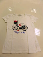 Girls Age 12 White T-shirt Bycicle With Extra Geox