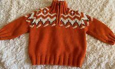 Genuine Kids Boys Orange Cream Long Sleeve Pullover Zip Neck Sweater 12 Months