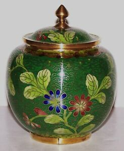 """VINTAGE CHINESE CLOISONNE BRASS GREEN WITH FLORAL DESIGN 4 3/4"""" JAR MARKED CHINA"""