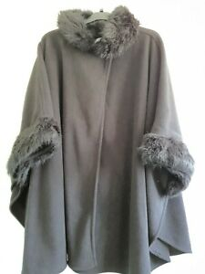 Ladies  M&S Black Poncho Wrap Cape Faux Fur Collar