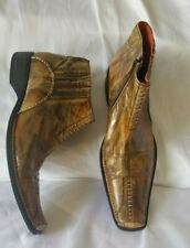 8, Robert Wayne  Boots Shoes Marbled Brown Leather Pointed Square toe Ankle zip