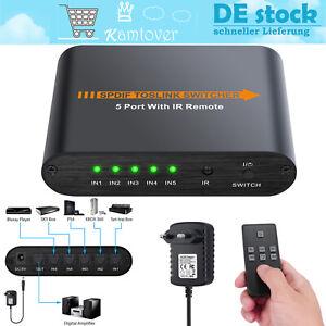 Toslink Switch 5 Port SPDIF Digital Optischer Audio Umschalter mit Fernbedienung