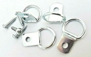 Picture Hanging D Rings 28mm x 17mm Hanger Hooks Nickel Plated With Screws