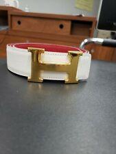 Hermes Reversible White And Red H Belt