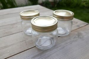 80 x Mason Style Wedding Desert Jars with Gold Lids