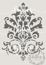 A5 STENCIL DAMASK FLOURISH Furniture Airbrush Vintage Shabby Chic ❤ 190 MYLAR
