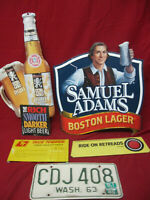 Vintage Lot of Beer Auto Tag and Hardware Man Cave Signs