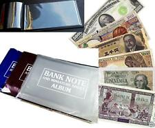 Banknote Album with 15 All Different Countries Foreign Currency World Money Lot