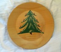 Vintage Round Wood decorative Tray Platter Hand Painted Christmas Tree Holiday